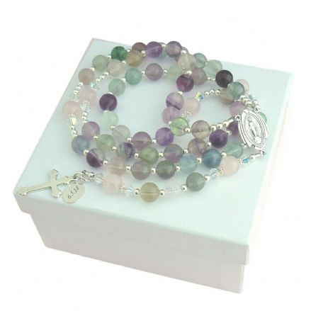 Personalised Rosary Fluorite & Quartz, Sterling Silver